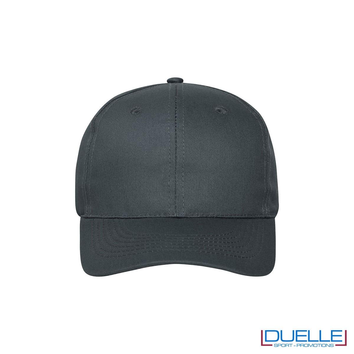 Cappellino cotone organico 6 pannelli colore antracite