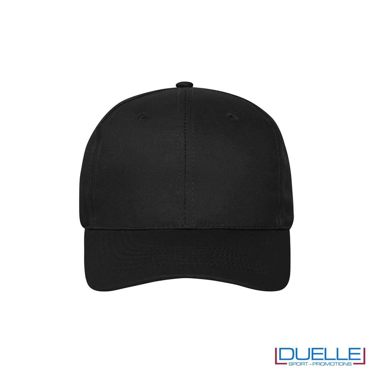 Cappellino cotone organico 6 pannelli colore nero