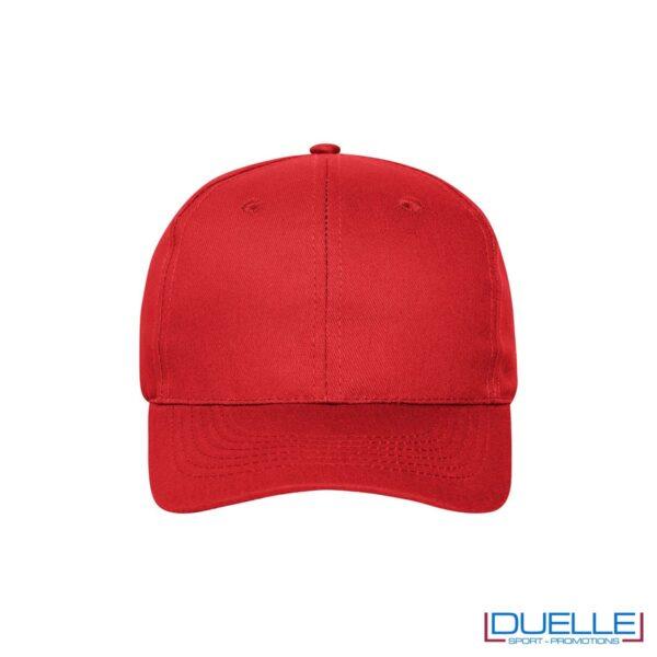 Cappellino cotone organico 6 pannelli colore rosso