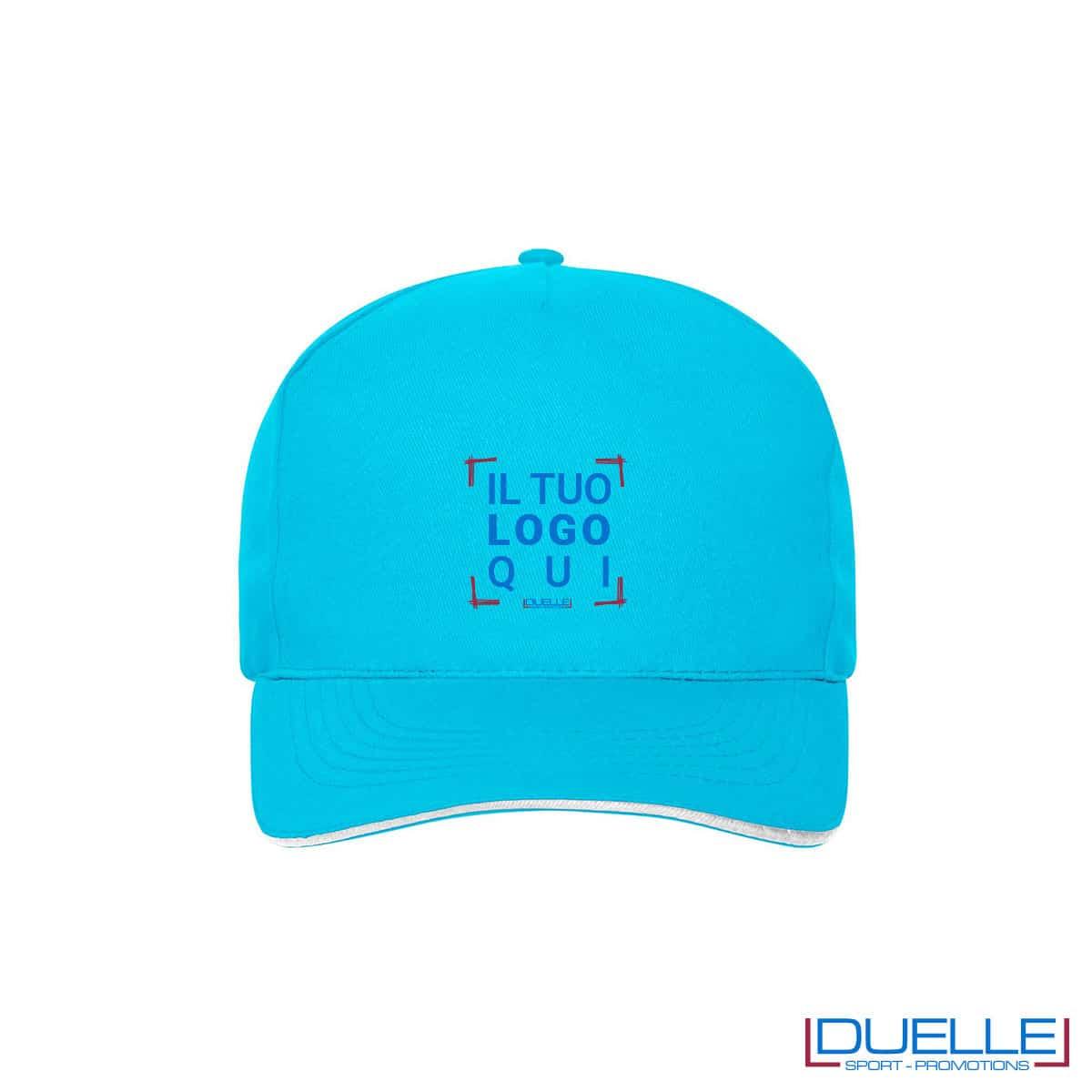 Cappello 100% cotone organico 5 pannelli colore turchese personalizzato