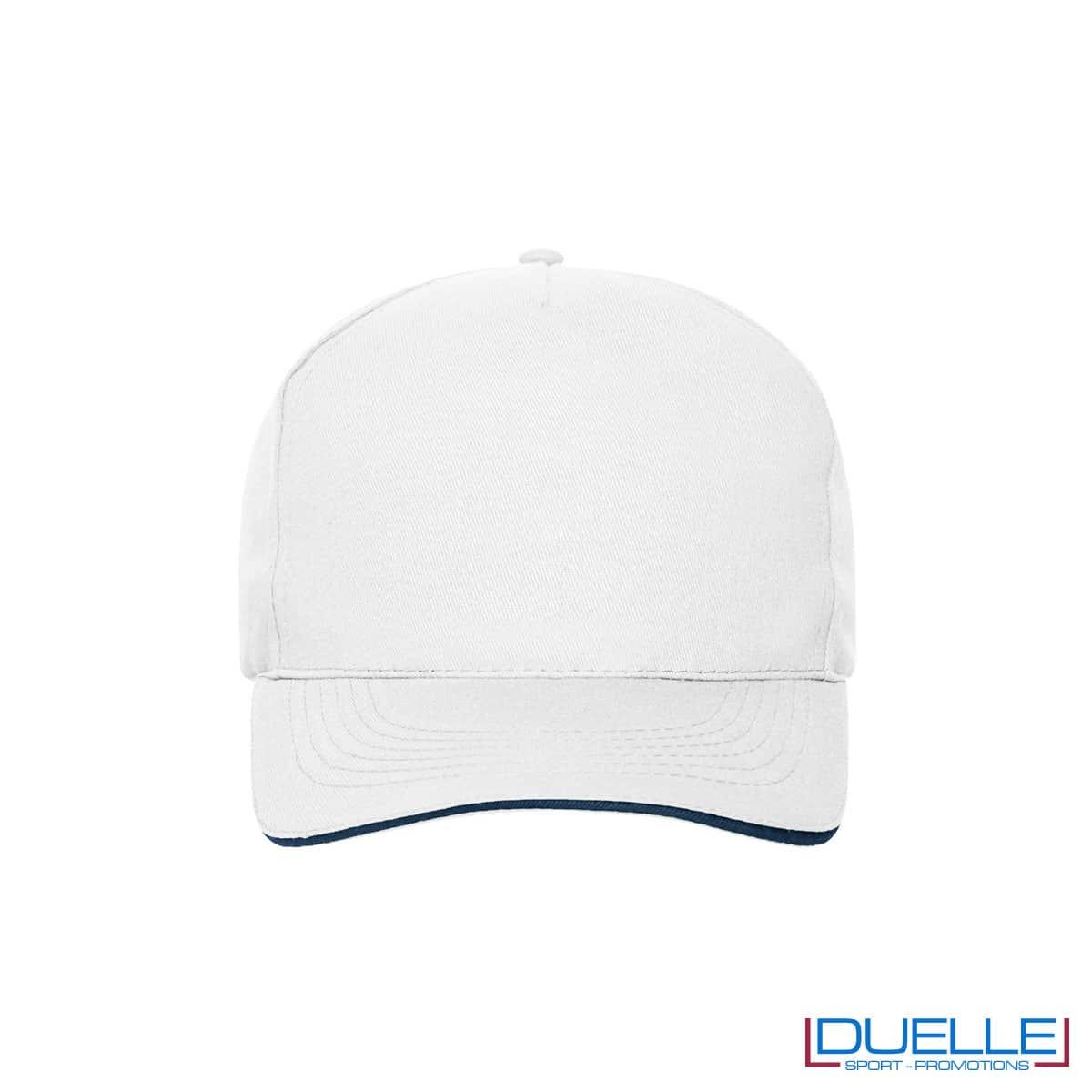 Cappello 100% cotone organico 5 pannelli colore bianco personalizzato