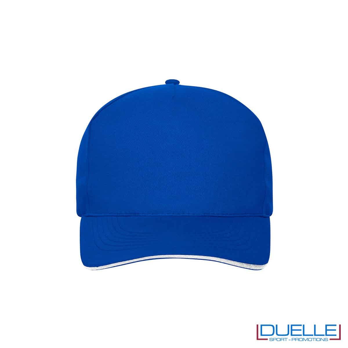 Cappello 100% cotone organico 5 pannelli colore blu royal personalizzato