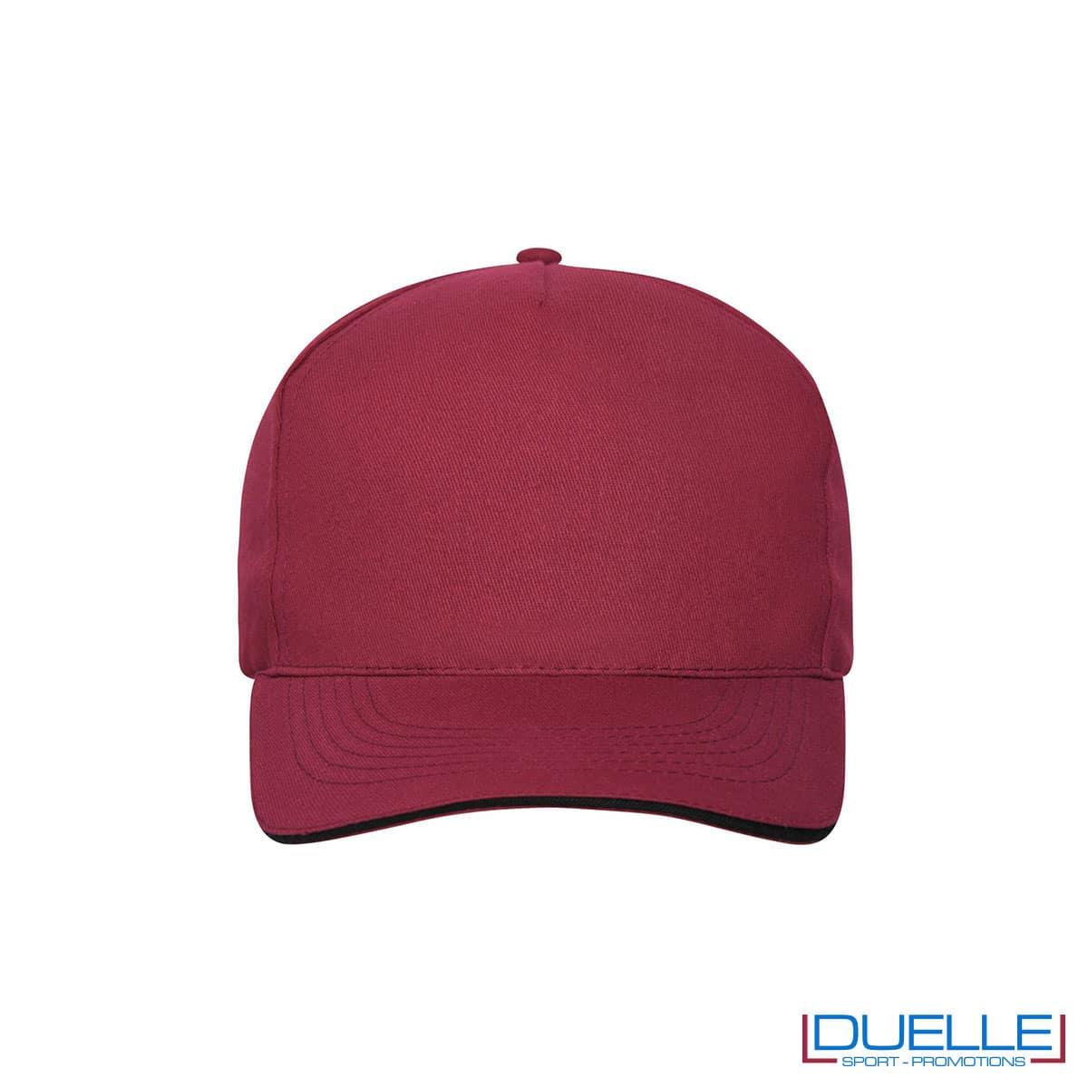 Cappello 100% cotone organico 5 pannelli colore bordeaux personalizzato