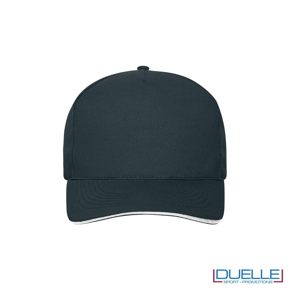 Cappello 100% cotone organico 5 pannelli colore blu navy personalizzato