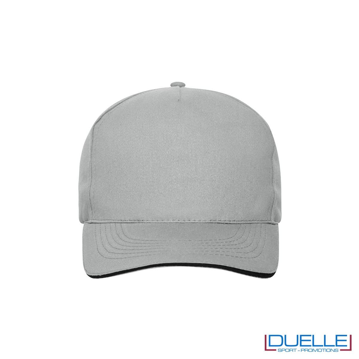 Cappello 100% cotone organico 5 pannelli colore grigio personalizzato