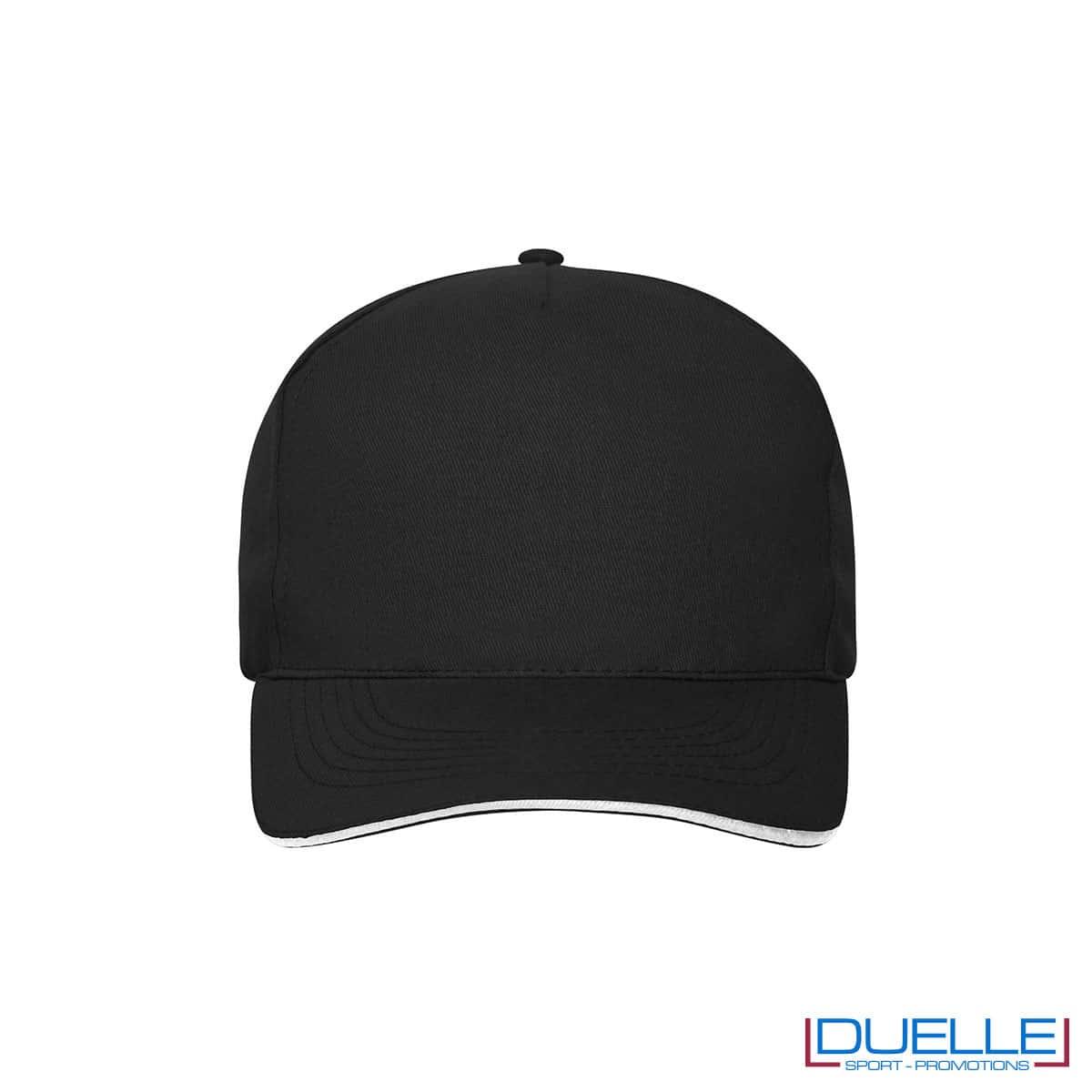 Cappello 100% cotone organico 5 pannelli colore nero personalizzato