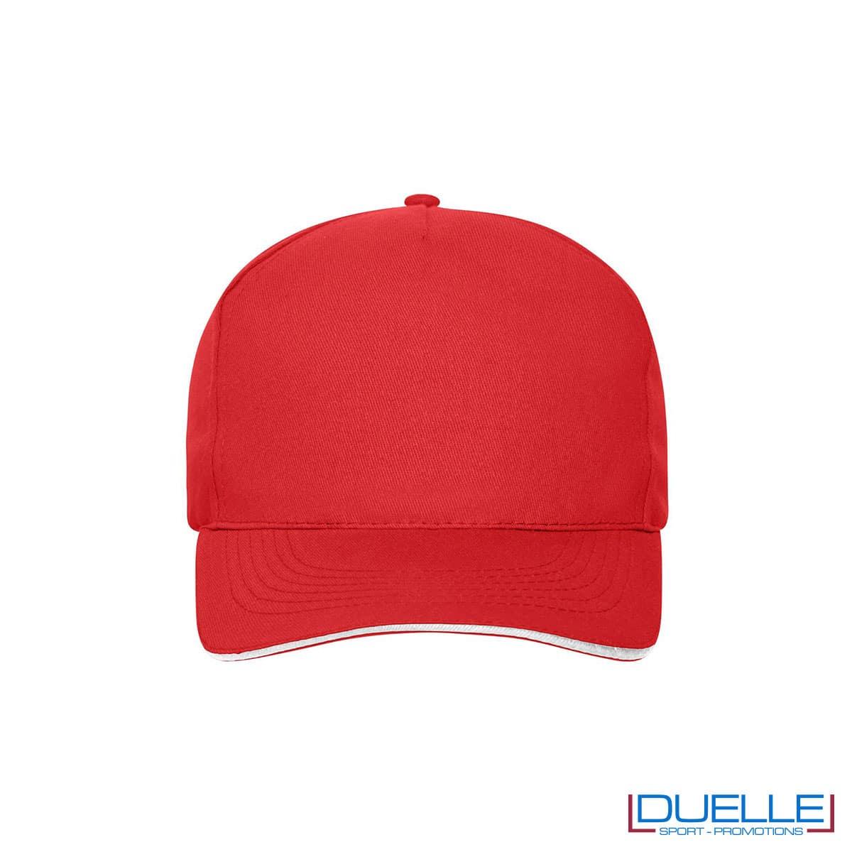 Cappello 100% cotone organico 5 pannelli colore rosso personalizzato