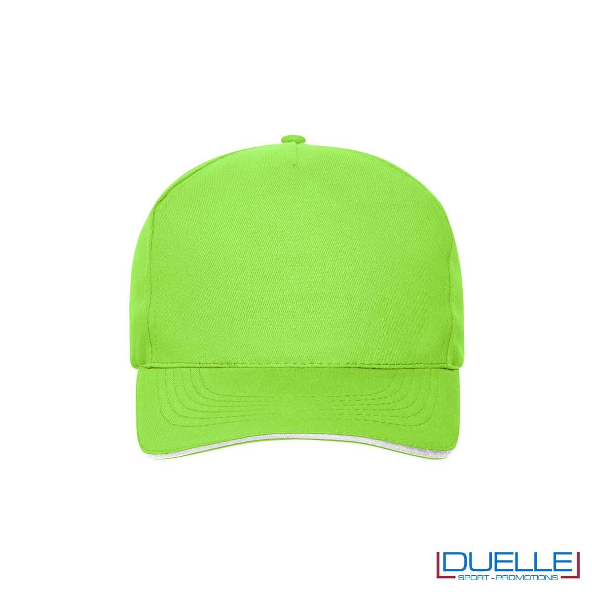 Cappello 100% cotone organico 5 pannelli colore verde lime personalizzato