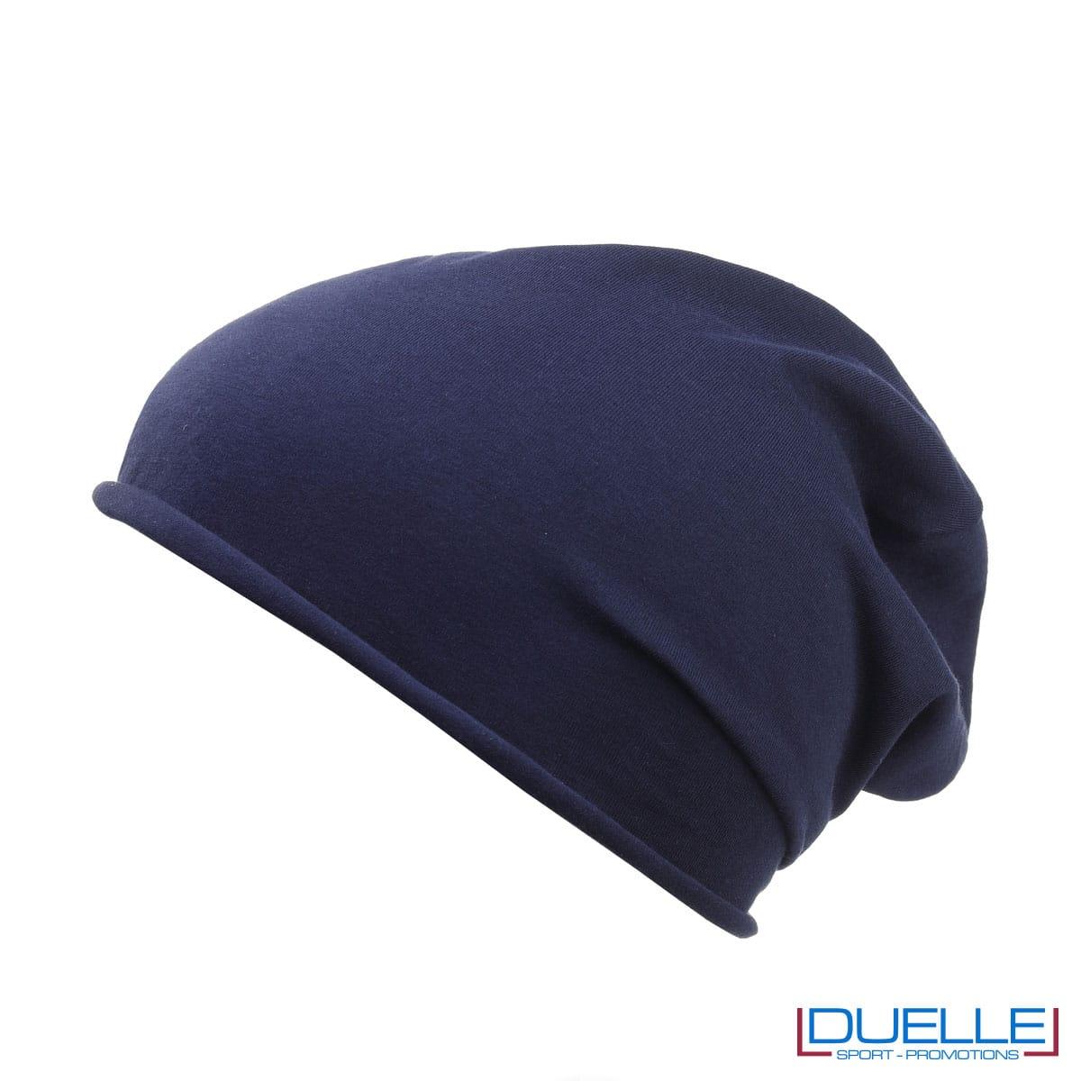 Cuffia cotone organico colore blu navy personalizzata