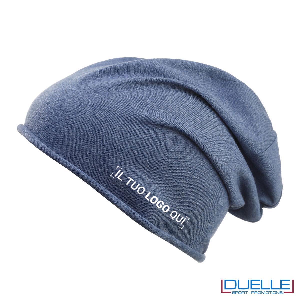 Cappello cuffia in cotone organico colore denim personalizzata