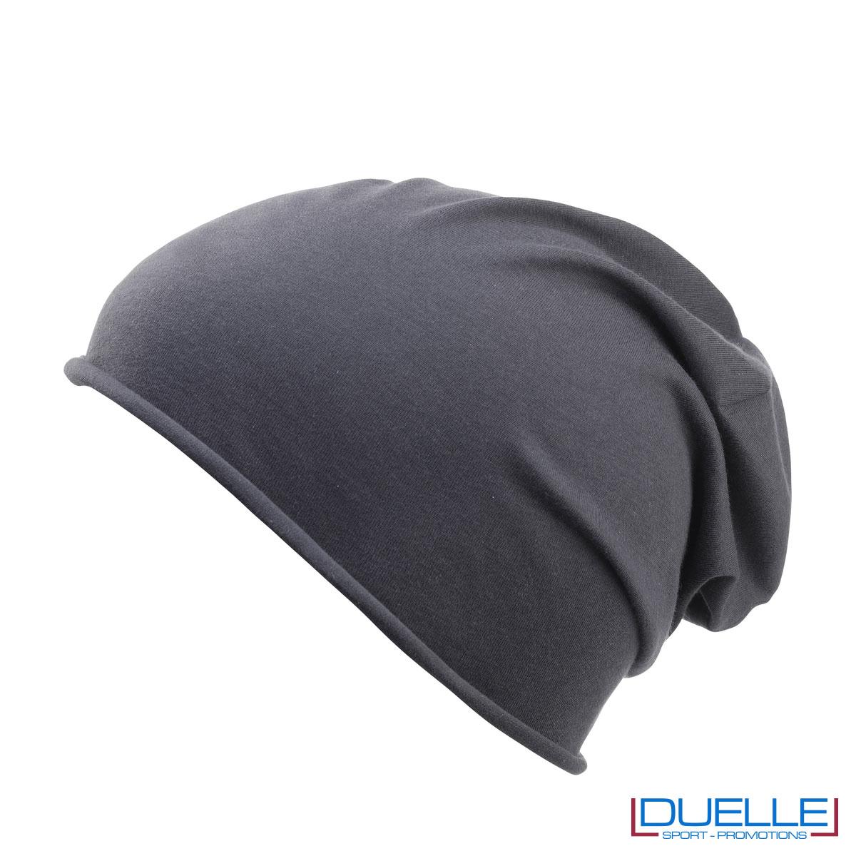 Cuffia cotone organico colore grigio personalizzata