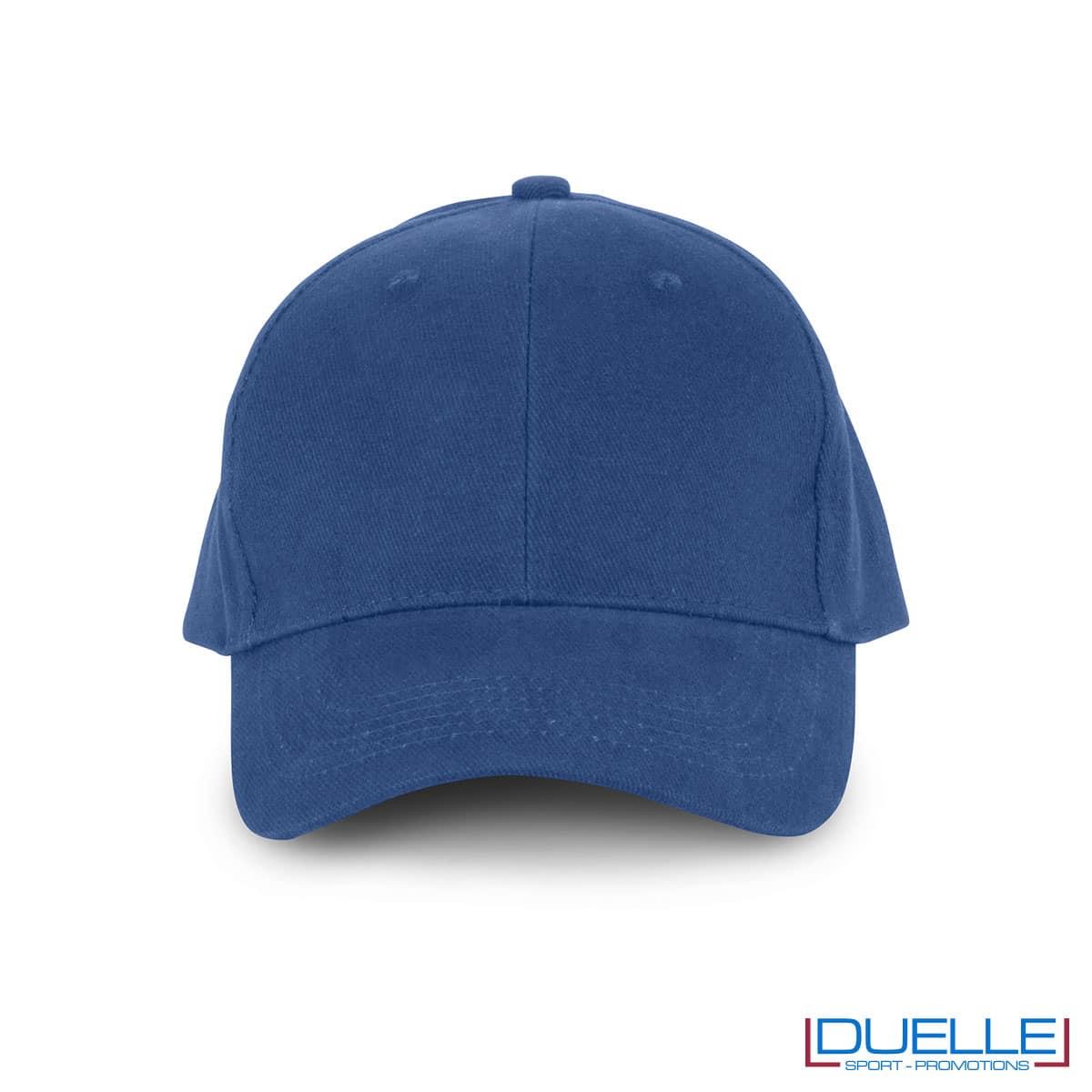 Cappellino in cotone biologico personalizzato con ricamo colore blu royal