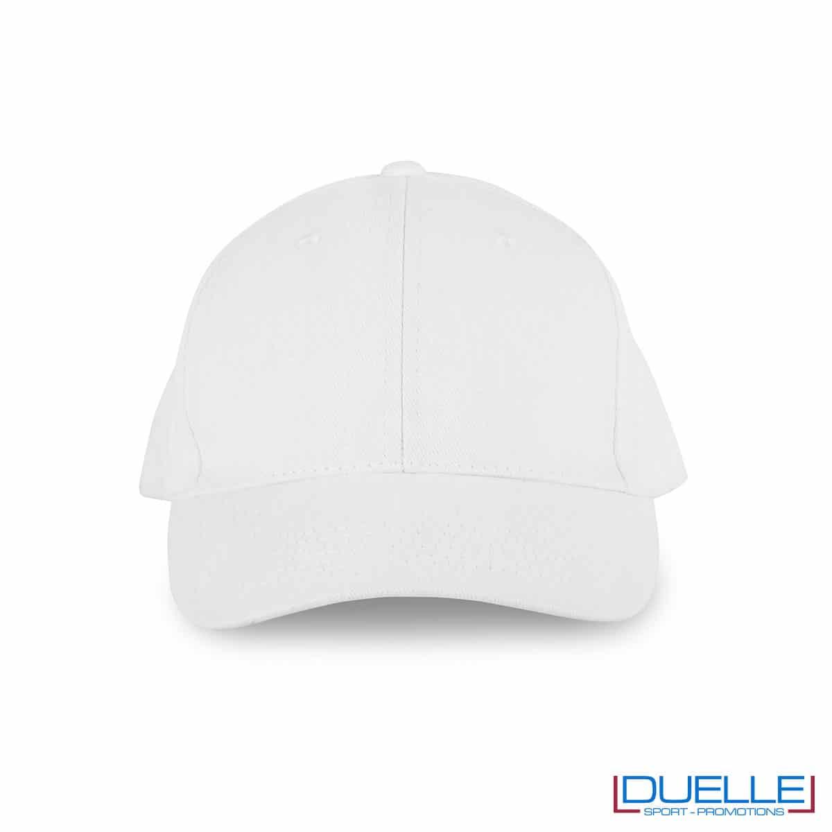 Cappellino in cotone biologico personalizzato con ricamo colore bianco