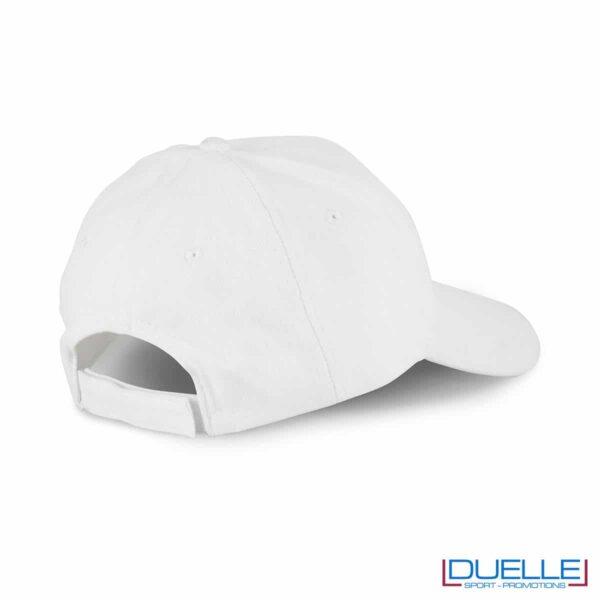 Chiusura cappellino 5 pannelli cotone bio 100% colore bianco personalizzato