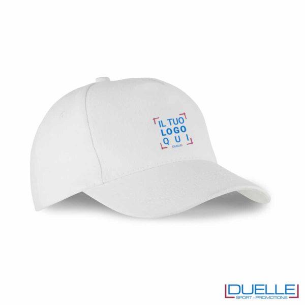 Cappellino 5 pannelli cotone bio 100% colore bianco personalizzato con il tuo logo