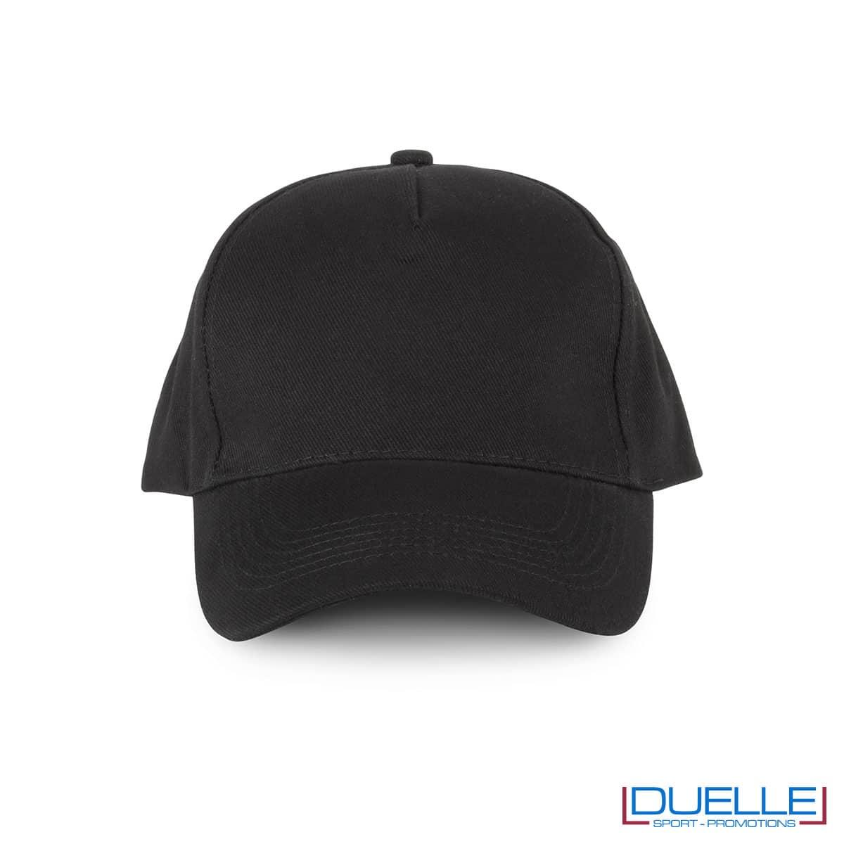 Cappellino 5 pannelli cotone bio 100% colore nero personalizzabile con stampa