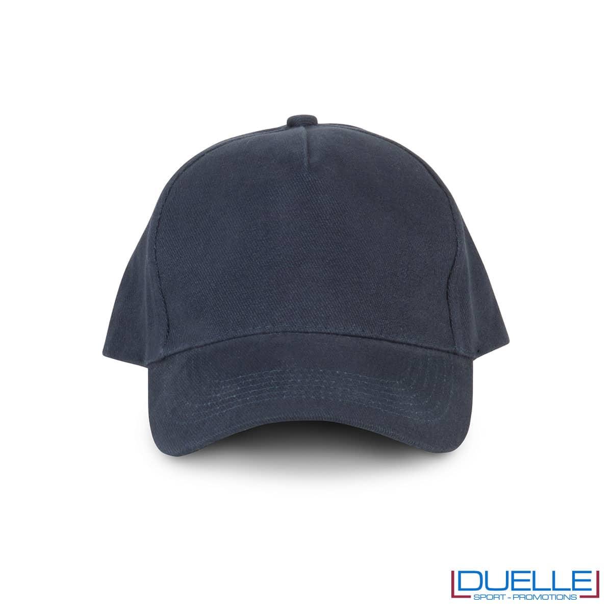 Cappellino 5 pannelli cotone bio 100% colore blu navy personalizzabile con stampa