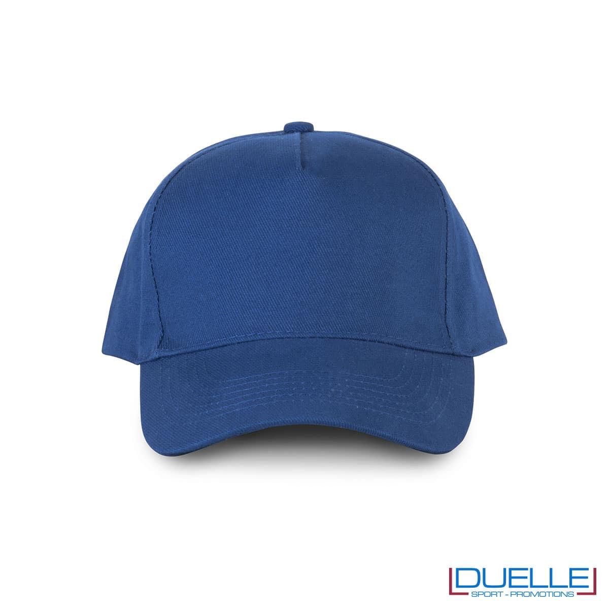 Cappellino 5 pannelli cotone bio 100% colore blu royal personalizzabile con stampa