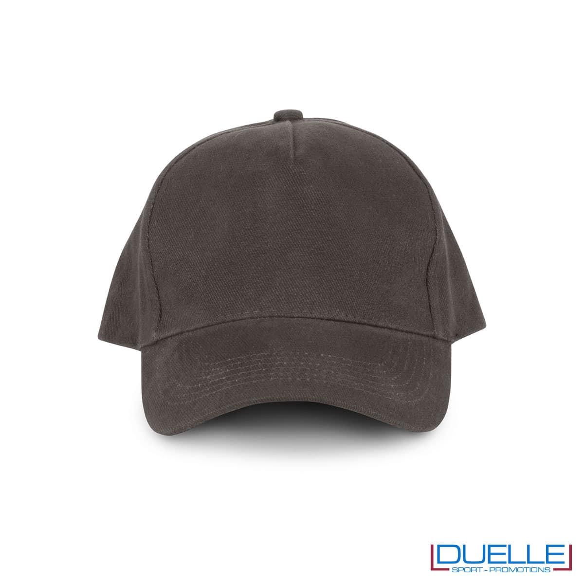 Cappellino 5 pannelli cotone bio 100% colore grigio personalizzabile con stampa