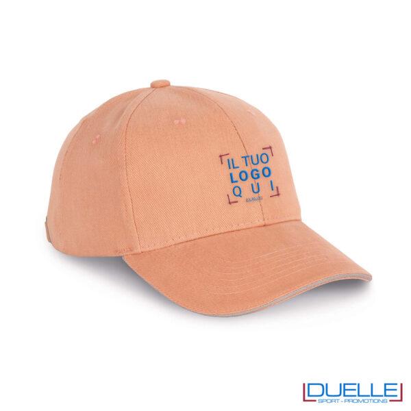 Cappello ecologico cotone bio colore rosa personalizzabile con ricamo