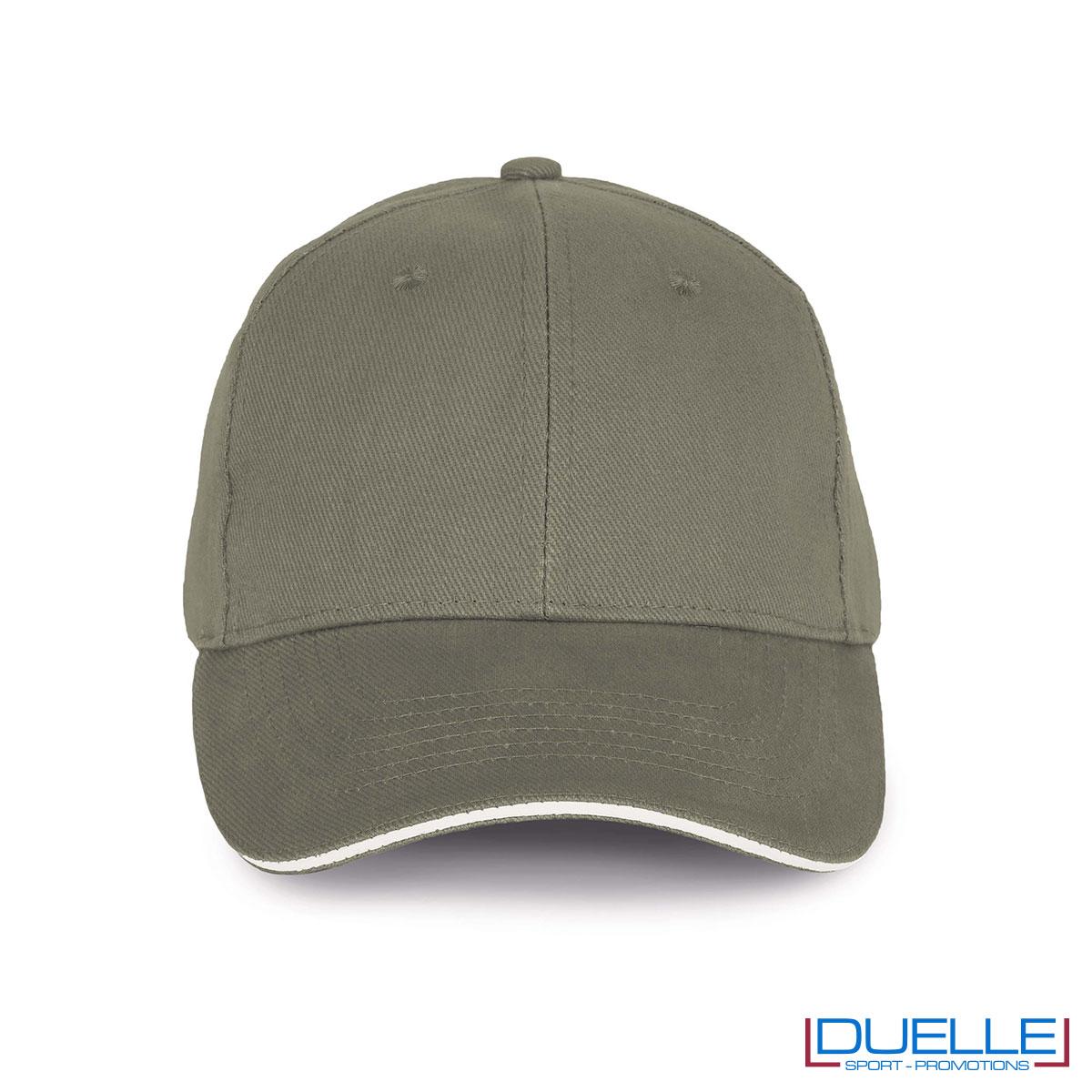 Cappello ecologico cotone bio colore kaki personalizzabile con ricamo