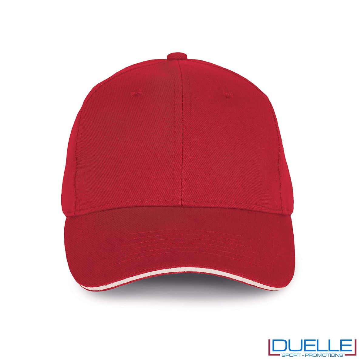 Cappello ecologico cotone bio colore rosso personalizzabile con ricamo