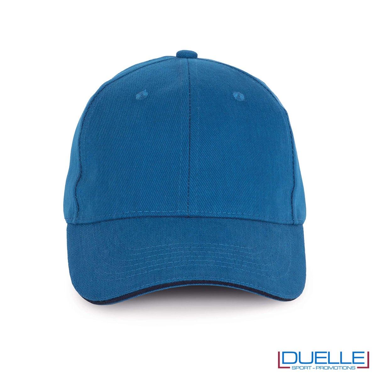 Cappello ecologico cotone bio colore blu personalizzabile con ricamo