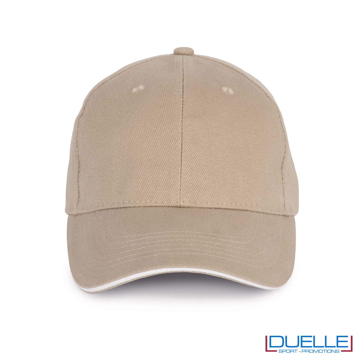Cappello ecologico cotone bio colore sabbia personalizzabile con ricamo