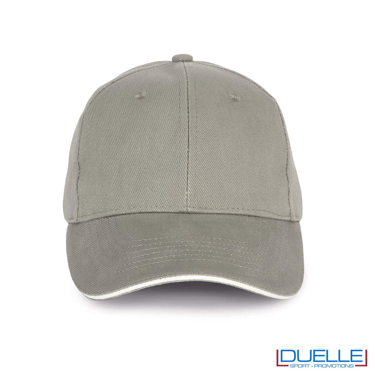 Cappello ecologico cotone bio colore grigio chiaro personalizzabile con ricamo