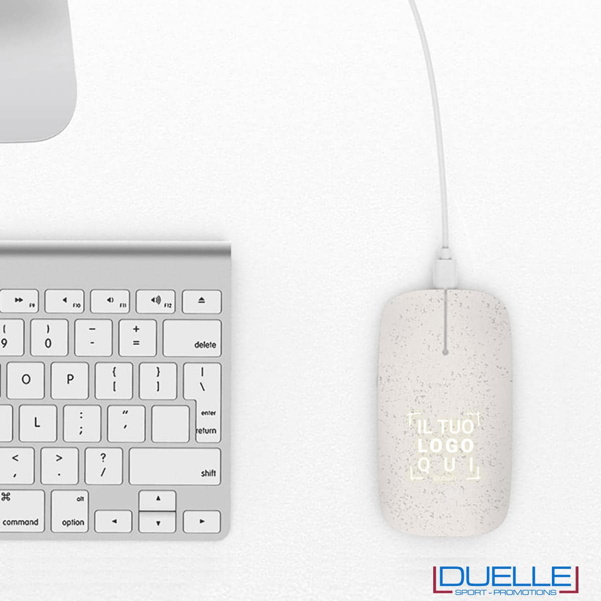 Mouse ecologico senza fili in plastica bio personalizzabile con luce led