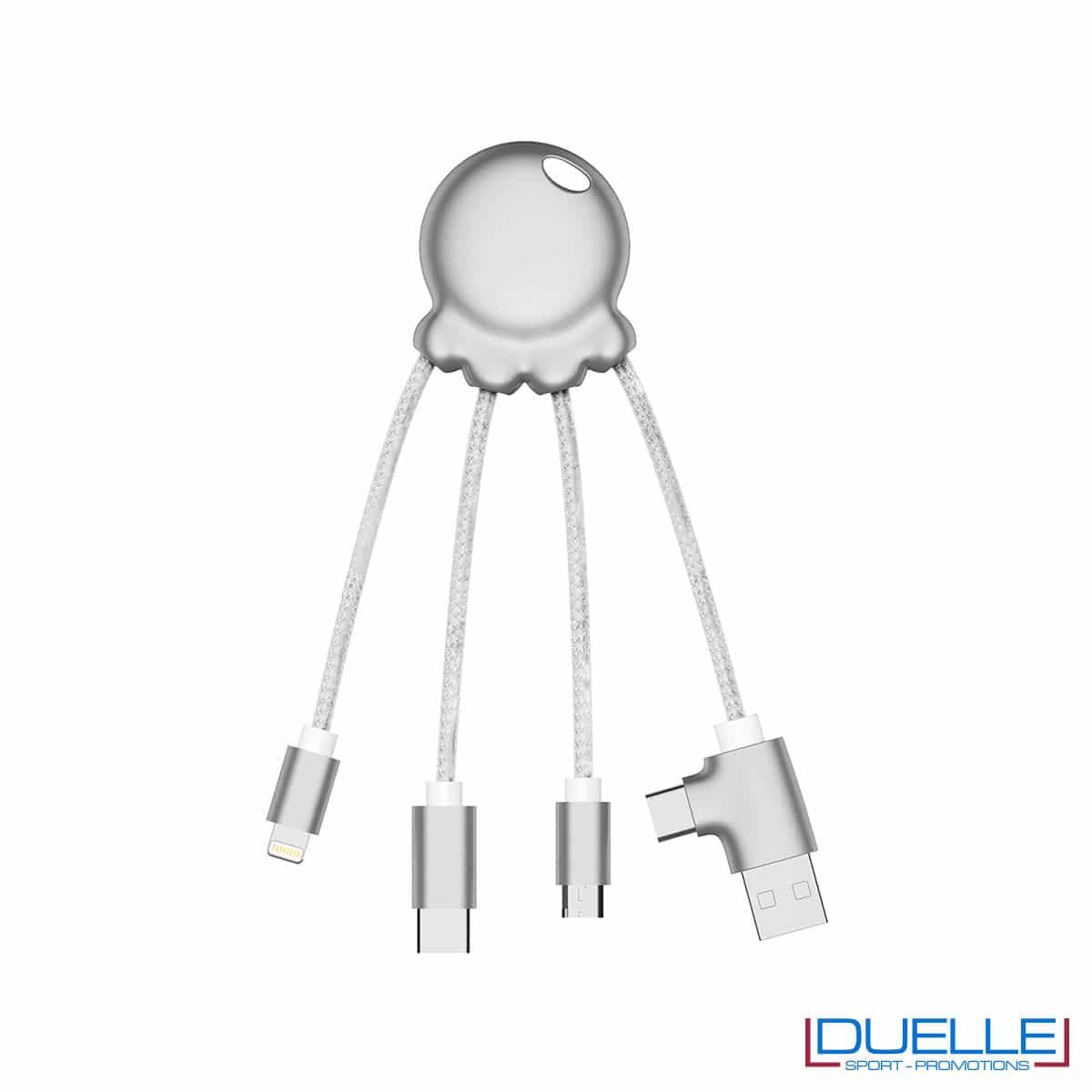 Cavo di ricarica multiplo 4 connettori colore silver metallizzato