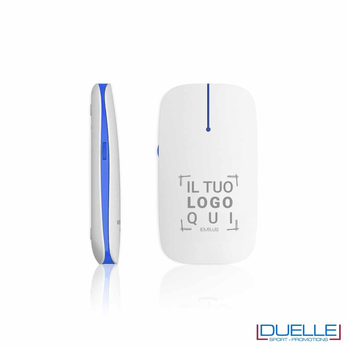 Mouse wireless con led blu personalizzato