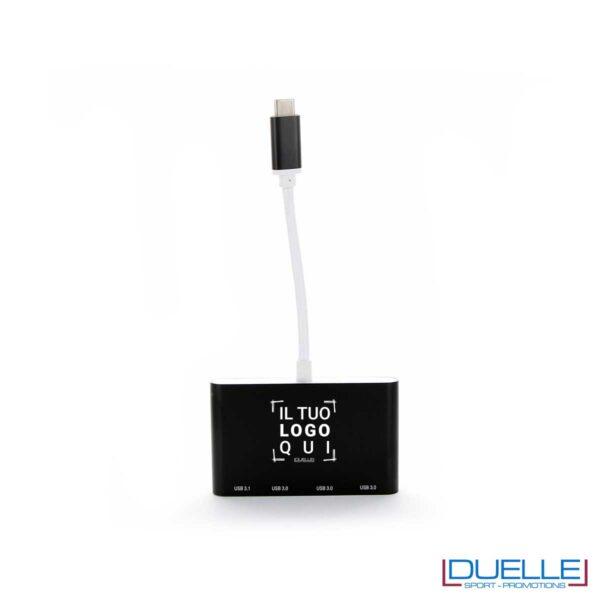 Hub USB-C nero personalizzato con logo