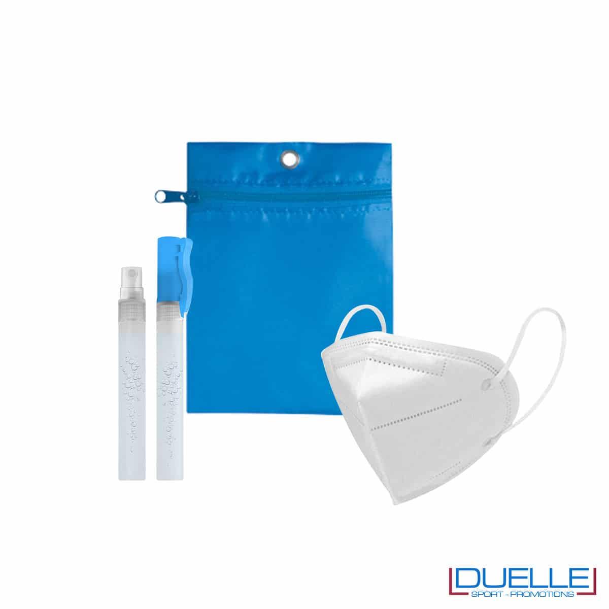 Kit di benvenuto igienizzante colore azzurro personalizzato con il tuo logo