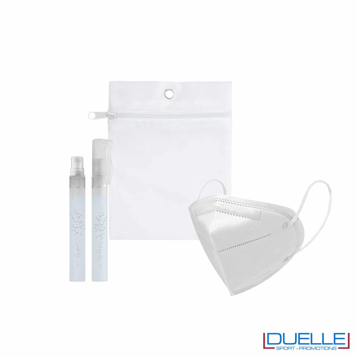 Kit di benvenuto igienizzante colore bianco personalizzato con il tuo logo