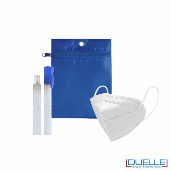 Kit di benvenuto igienizzante colore blu royal personalizzato con il tuo logo