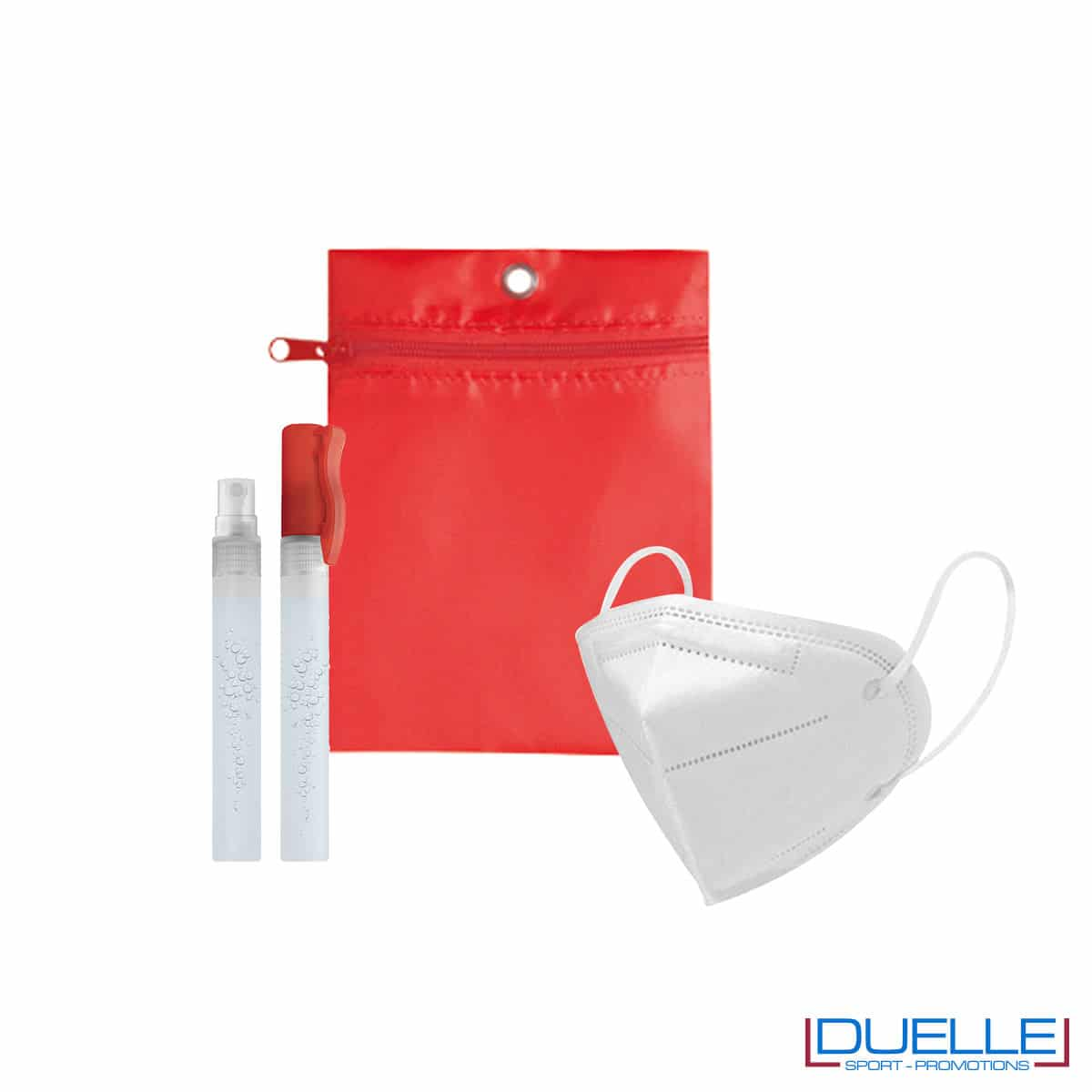 Kit di benvenuto igienizzante colore rosso personalizzato con il tuo logo