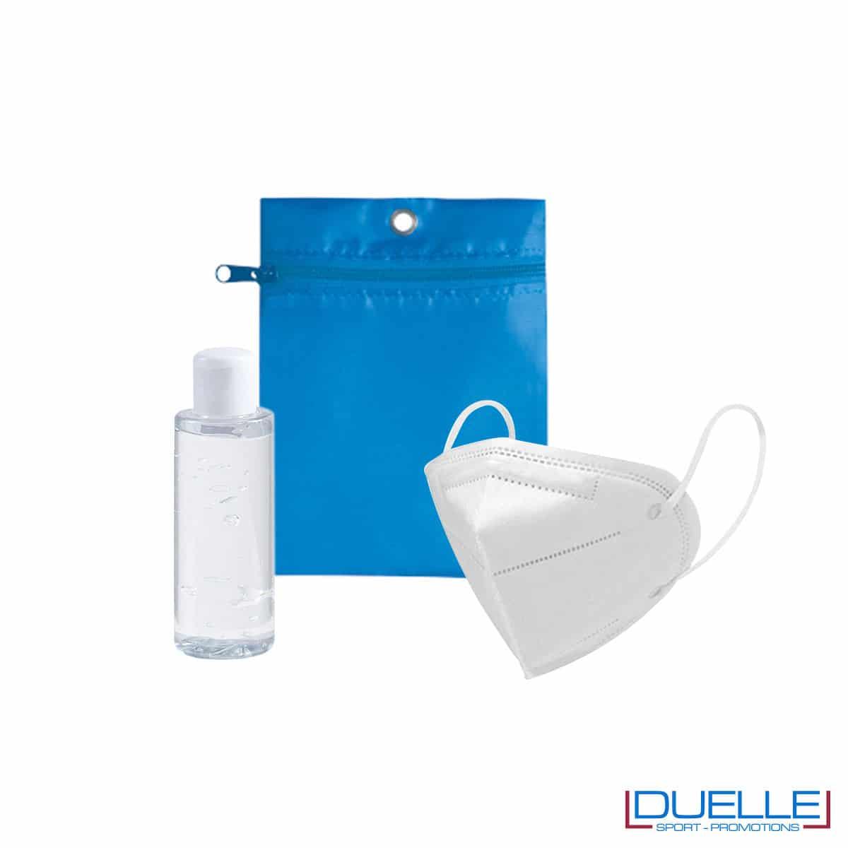 Set da viaggio igienizzante con bustina colore azzurra personalizzata