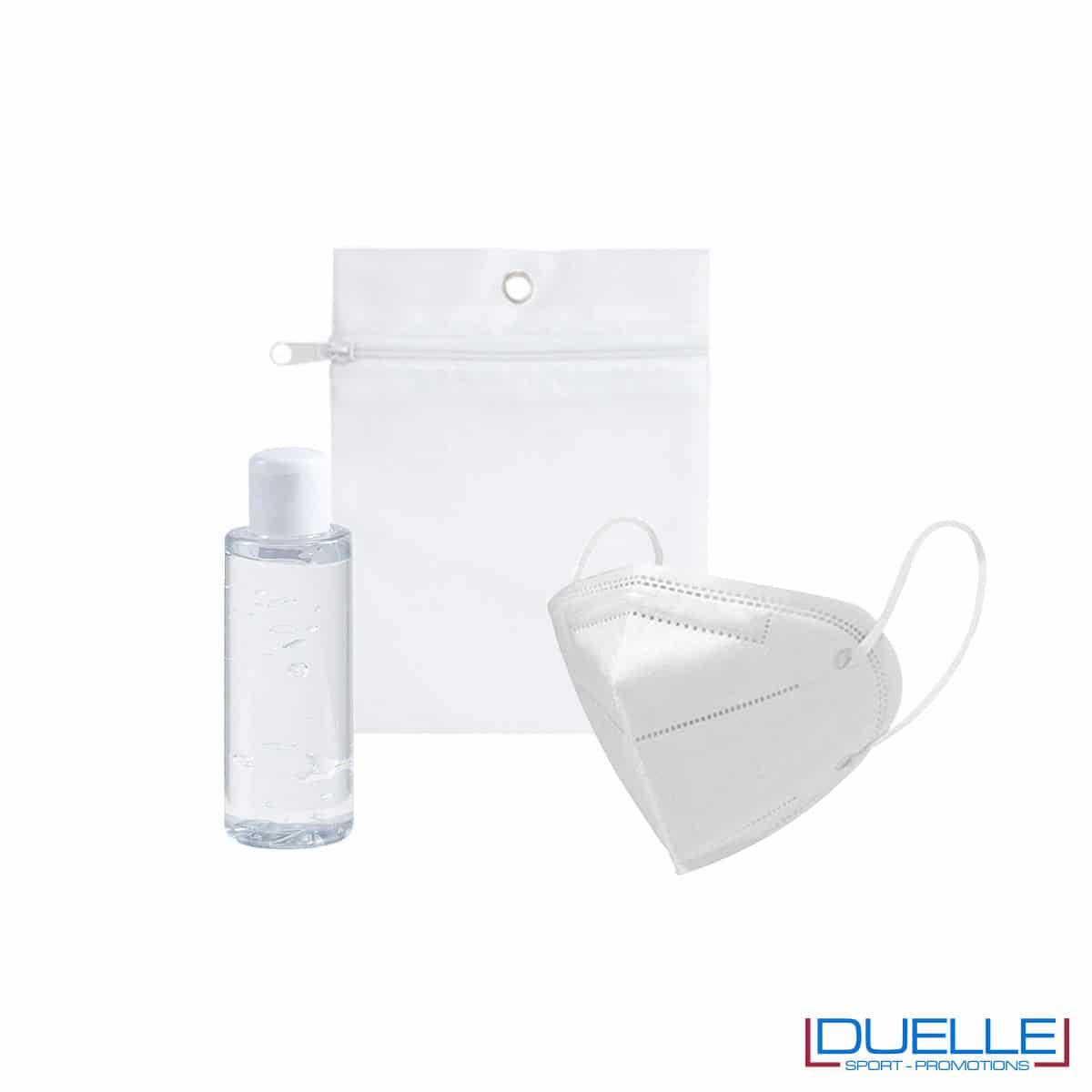 Set da viaggio igienizzante con bustina colore bianco personalizzata