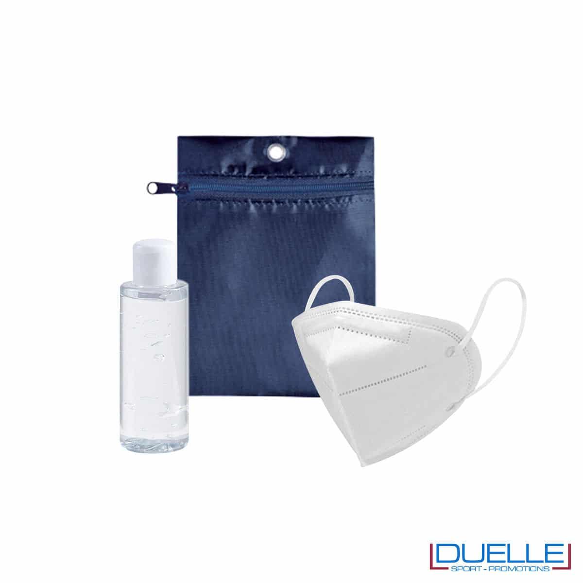 Set da viaggio igienizzante con bustina colore blu navy personalizzata