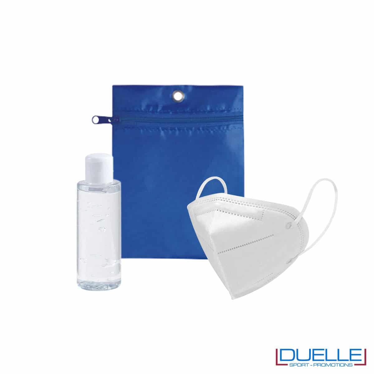 Set da viaggio igienizzante con bustina colore blu royal personalizzata