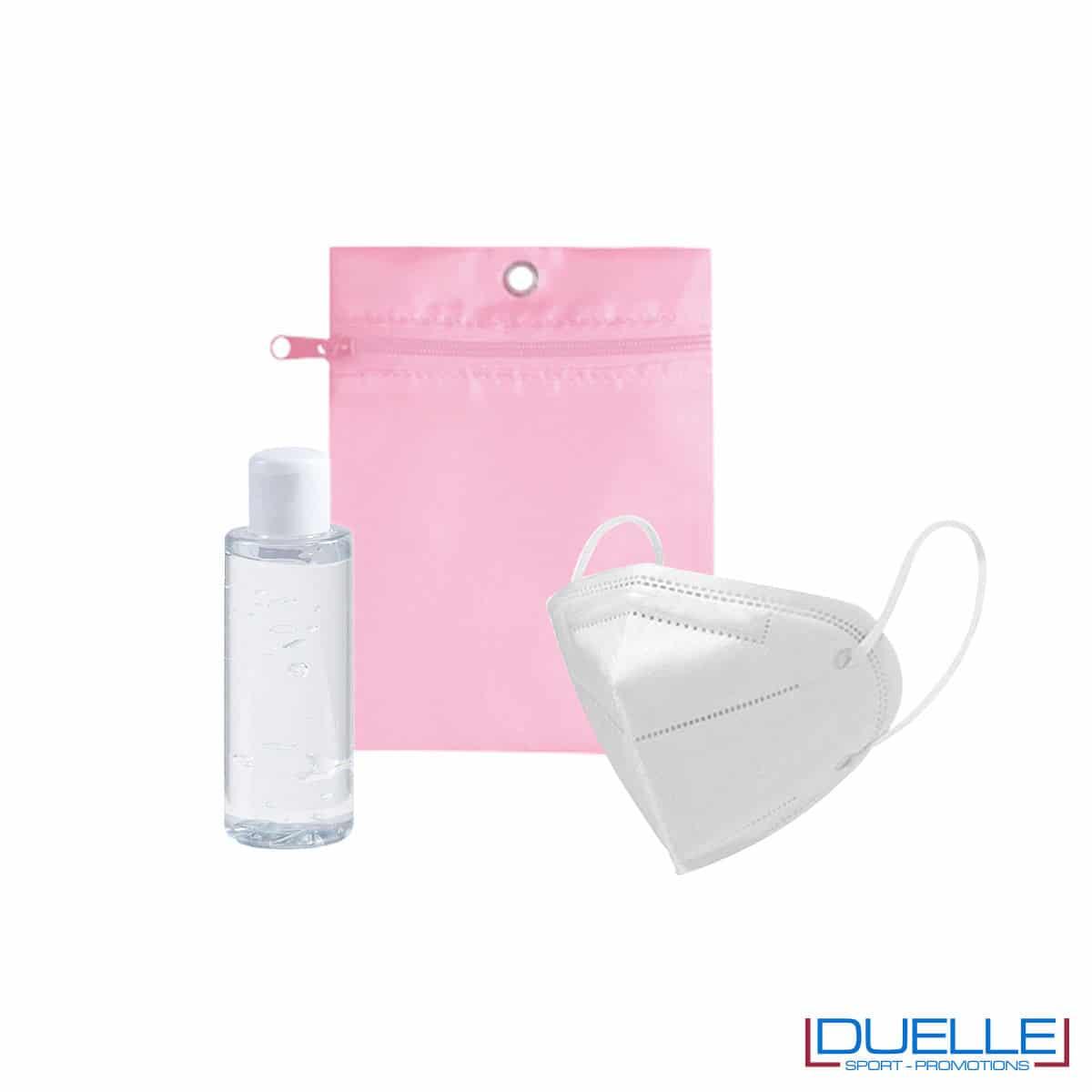 Set da viaggio igienizzante con bustina colore rosa personalizzata