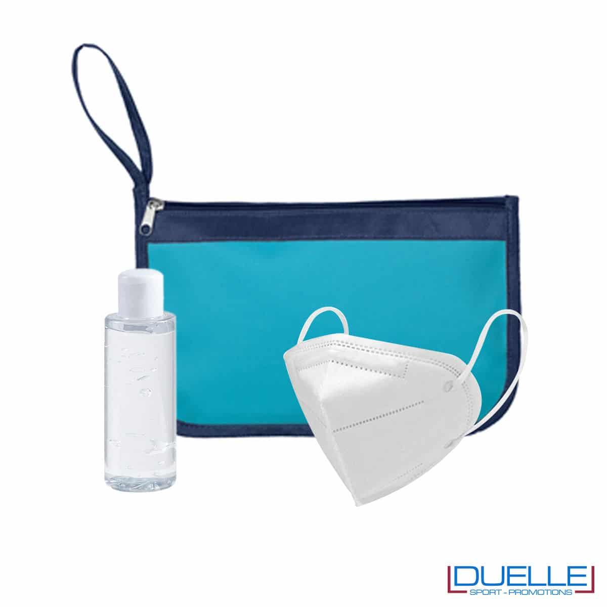 Kit igiene da viaggio con portadocumenti colore azzurro personalizzato