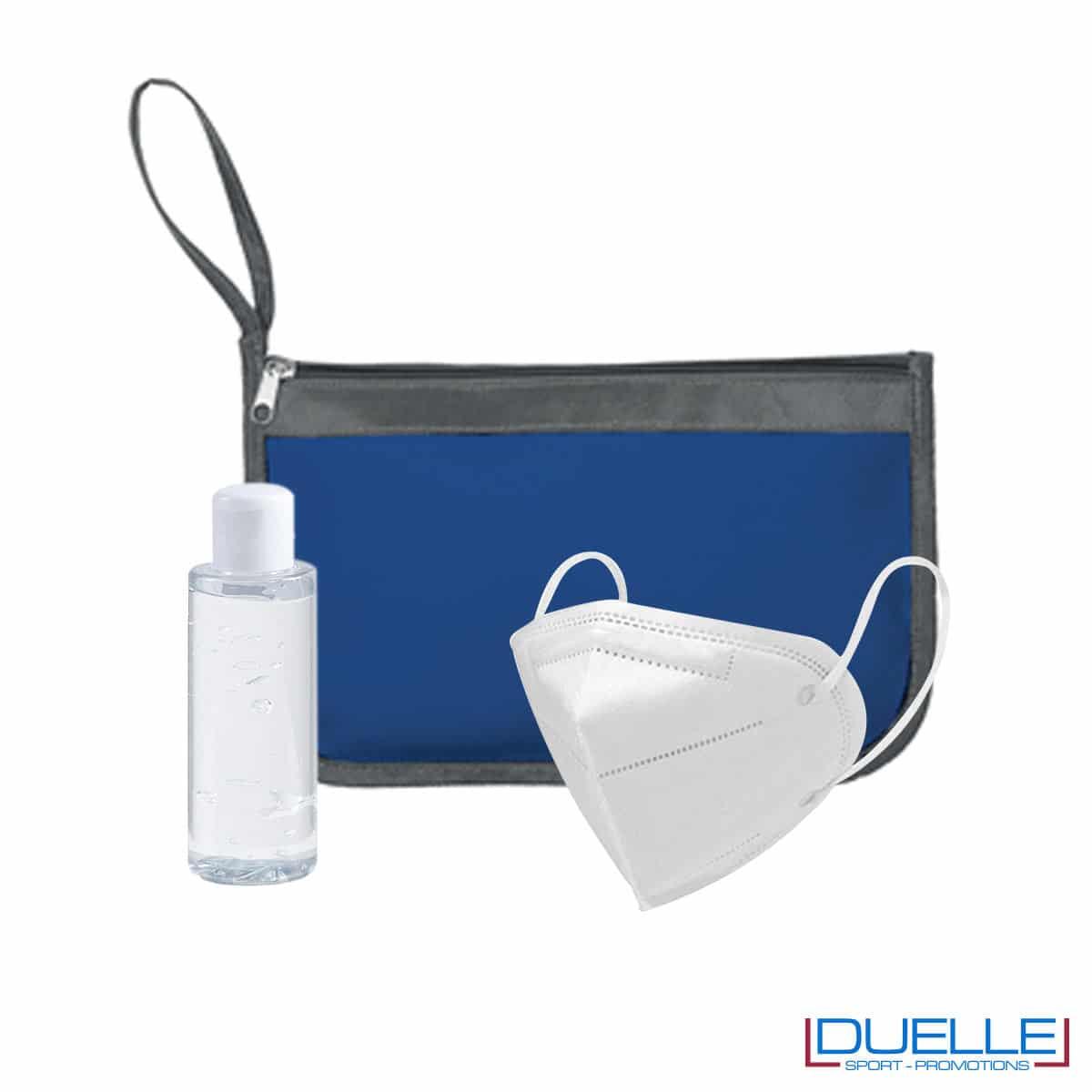 Kit igiene da viaggio con portadocumenti colore blu navy personalizzato