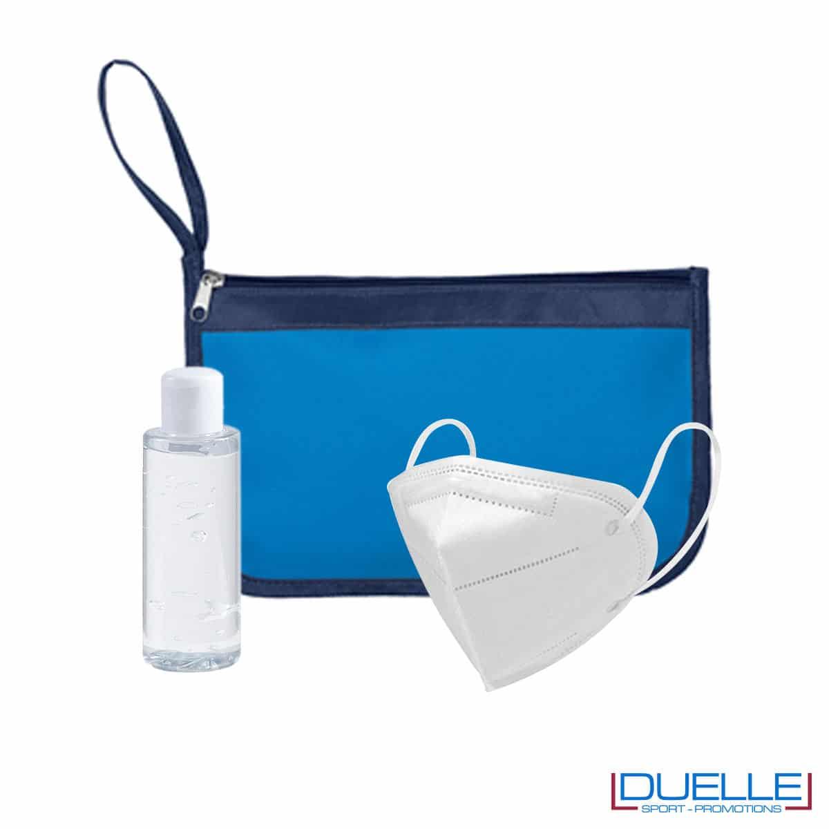 Kit igiene da viaggio con portadocumenti colore blu royal personalizzato