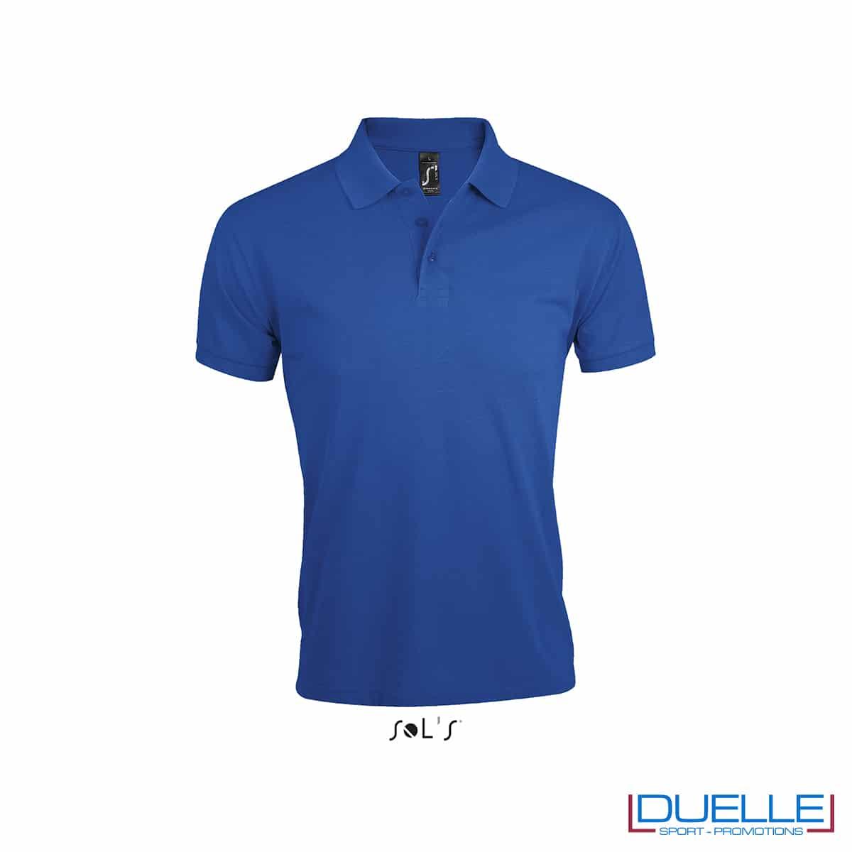 Maglietta polo blu royal con logo per lavoro