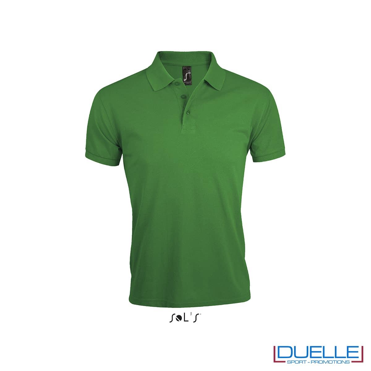 Maglia polo poliestere e cotone verde con logo