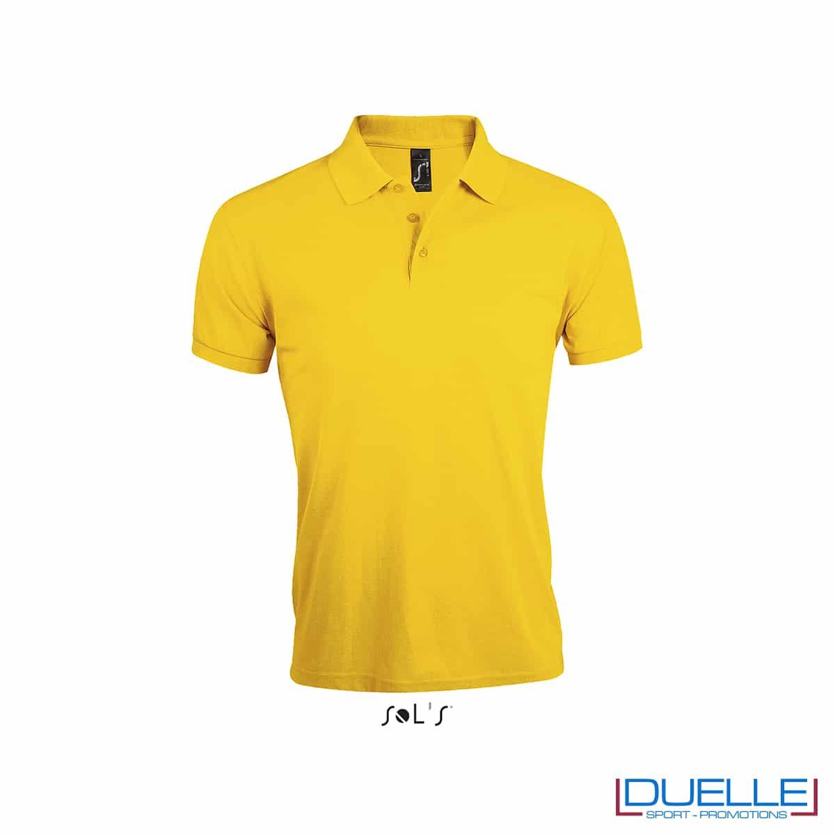 polo maniche corte poliestere gialla con logo