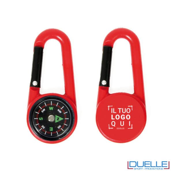 Bussola con moschettone colore rosso personalizzata