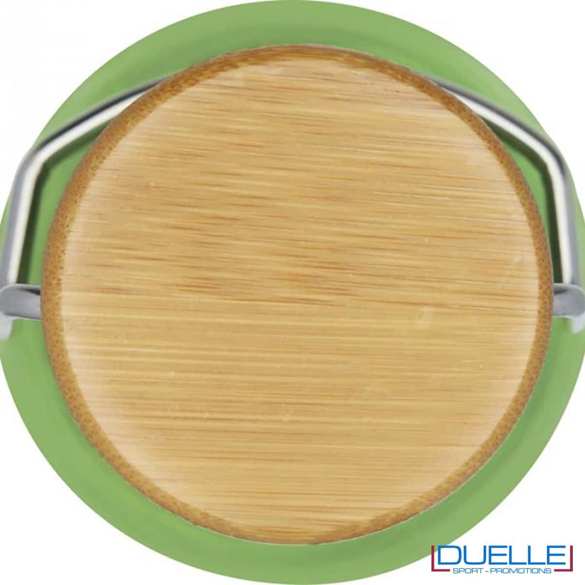 tappo in bamboo borraccia verde in tritan